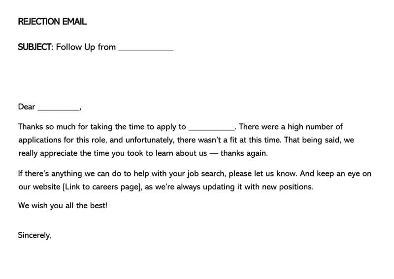 Job Candidate Rejection Email Sample