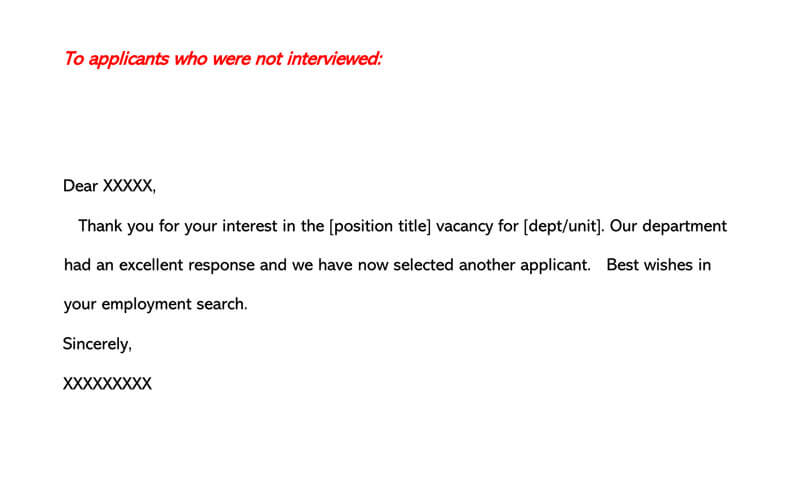 Job Candidate Rejection Letter 17