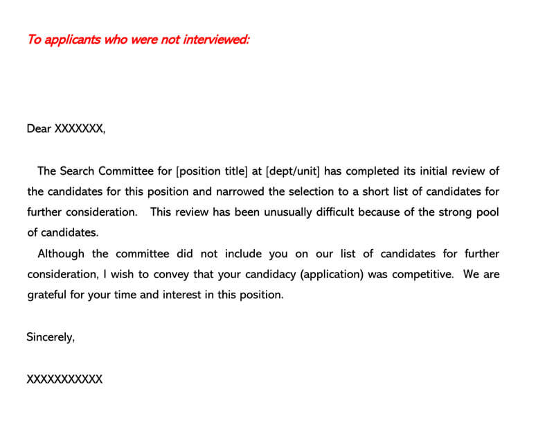 Job Candidate Rejection Letter 18