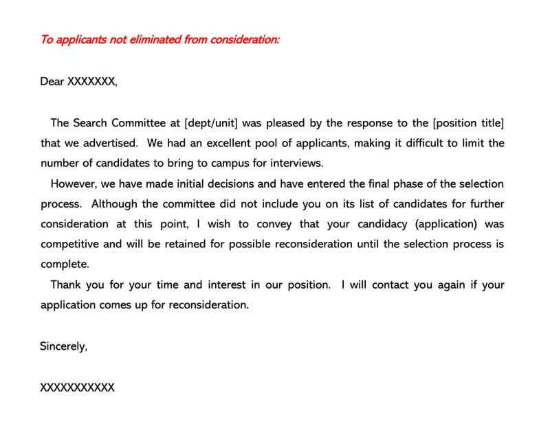 Job Candidate Rejection Letter 19