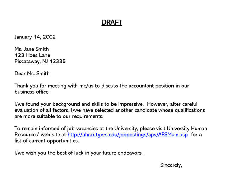 Job Candidate Rejection Letter Sample