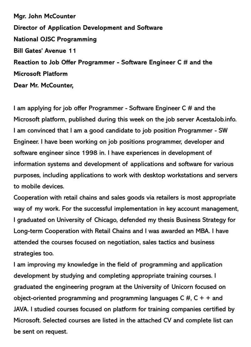 Job Cover Letter for Software Engineer