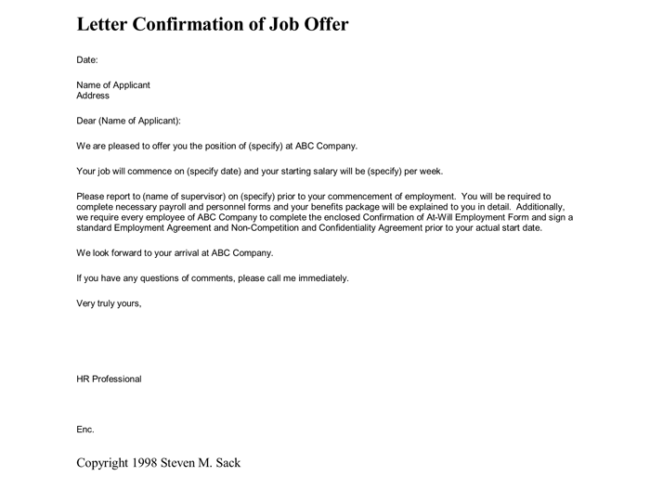 Not Accept Job Offer Letter