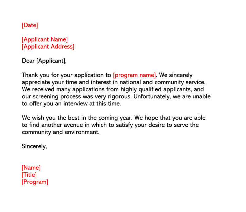 Job Rejection Letter Template 05