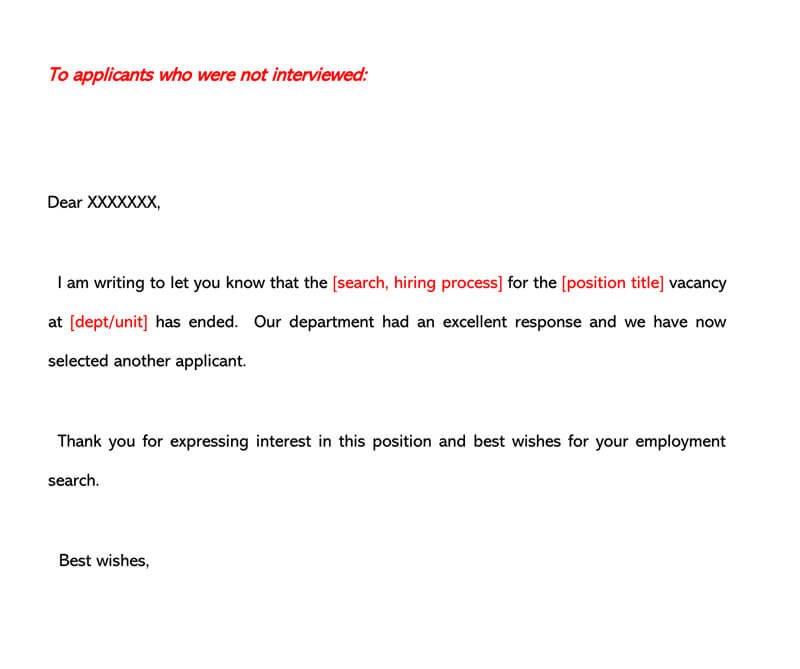 Job Rejection Letter Template 08