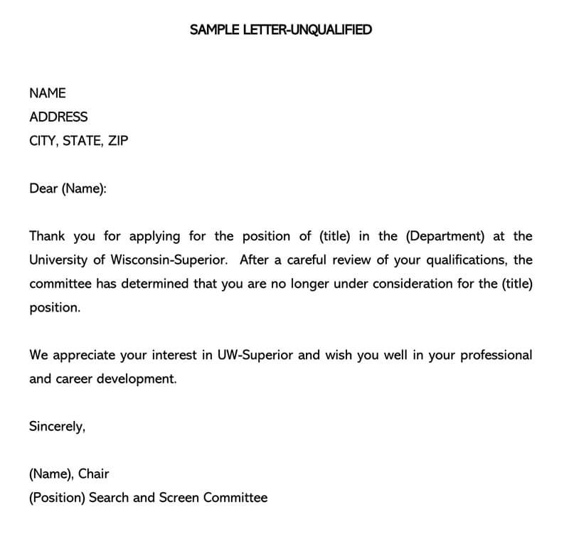 Job Rejection Letter Unqualified