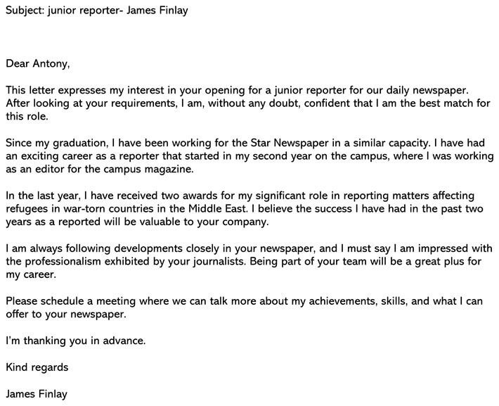 Journalism Cover Letter Email example