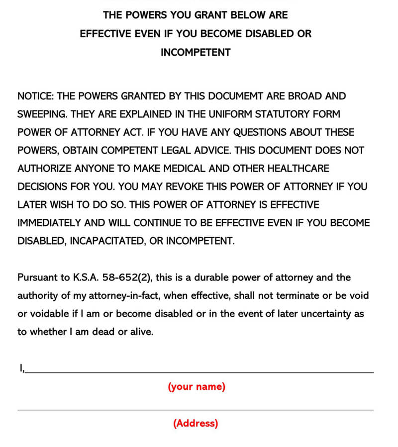 Kansas Power of Attorney Form