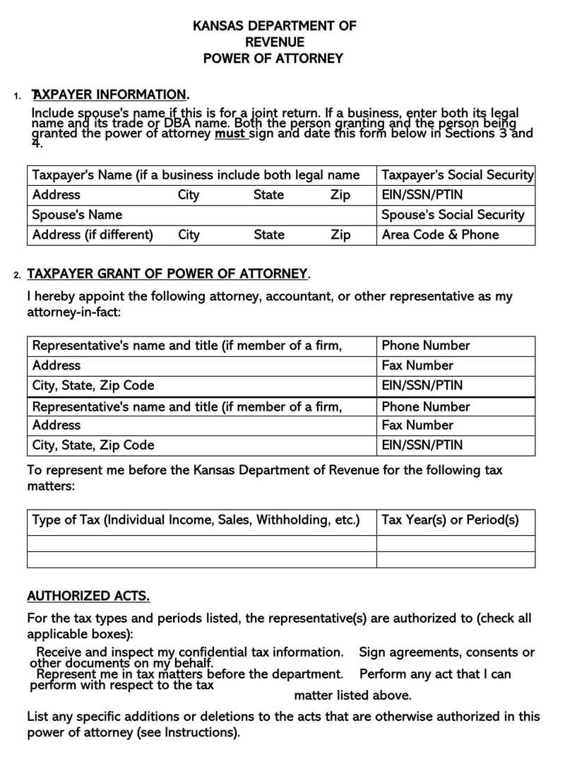 Kansas State Tax POA