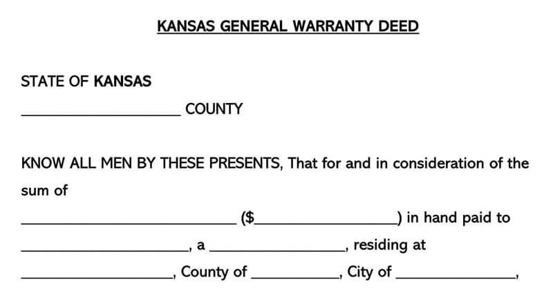 Kansas Warranty Deed Form