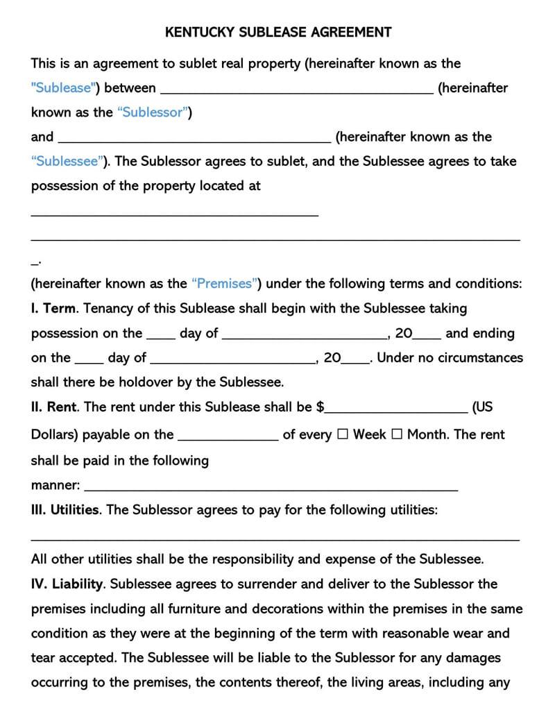 Kentucky SubLease Agreement Template