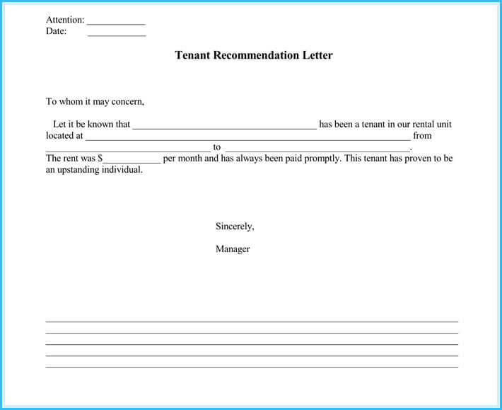 landlord reference letter - 5  samples