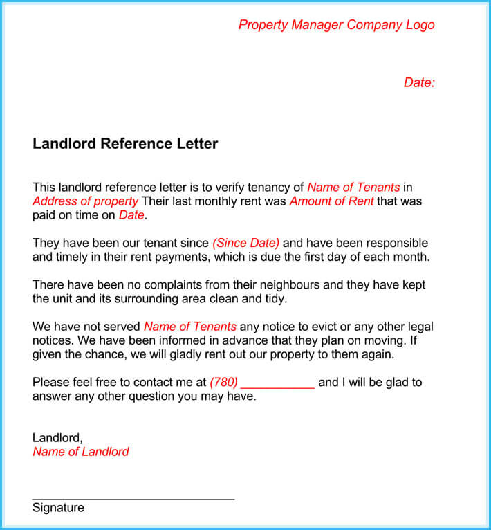 Lease Reference Letter Example ...