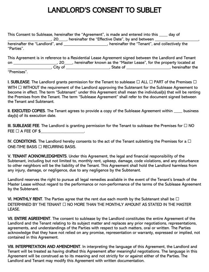 Landlord Sublease Consent Form permission to sublet