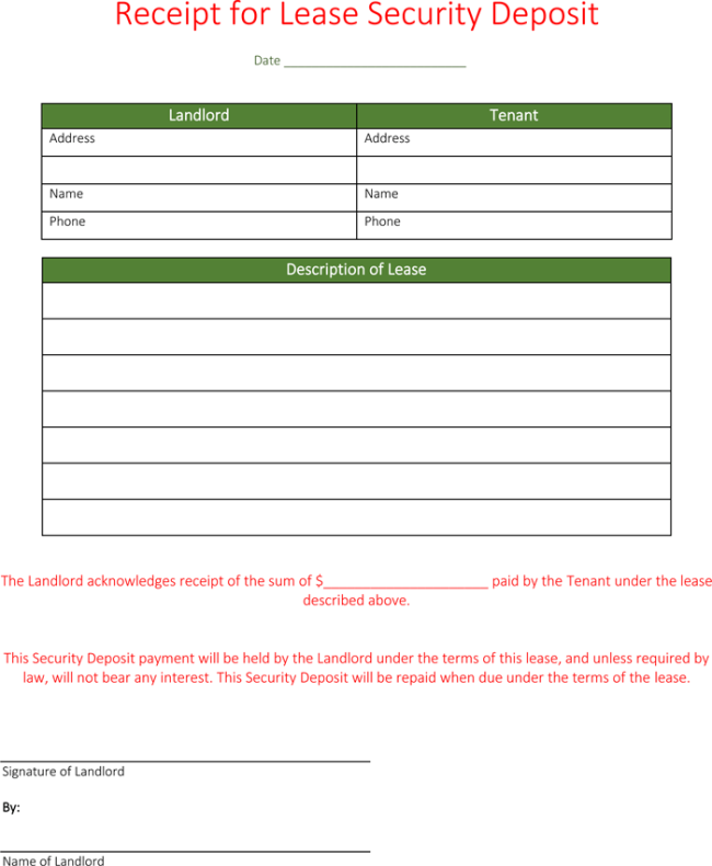 Security Deposit Receipt 4 Sample Security Deposit Receipts – Down Payment Receipt Form