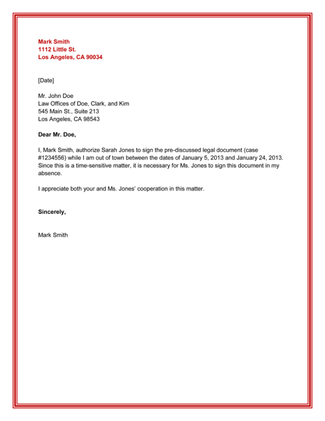 10 Best Authorization Letter Samples and Formats – Sample Legal Letter Format