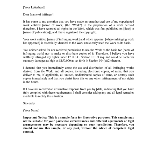 Legal Cease And Desist Letter  Letter Of Cease And Desist Template