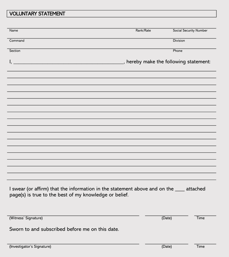 Legal Statement of Facts Template
