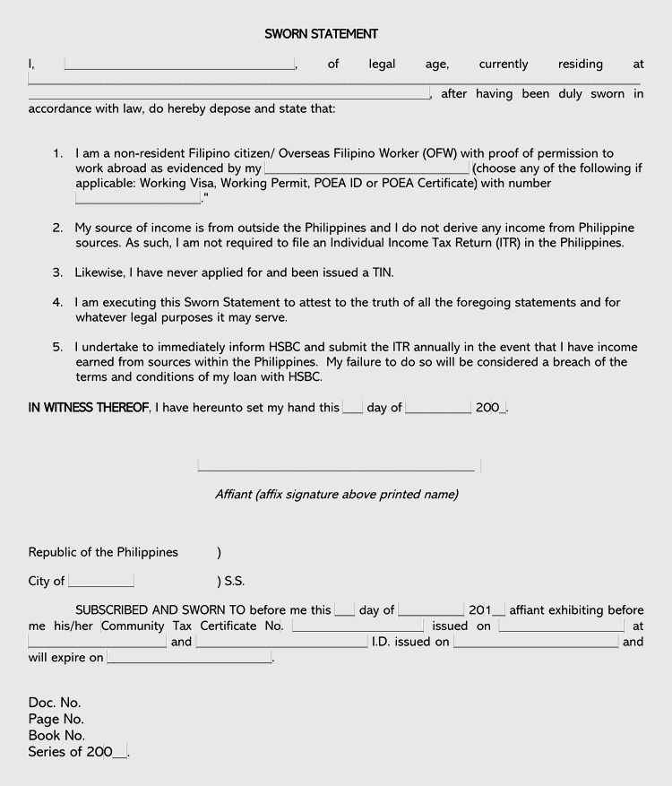 Legal Sworn Statement Template