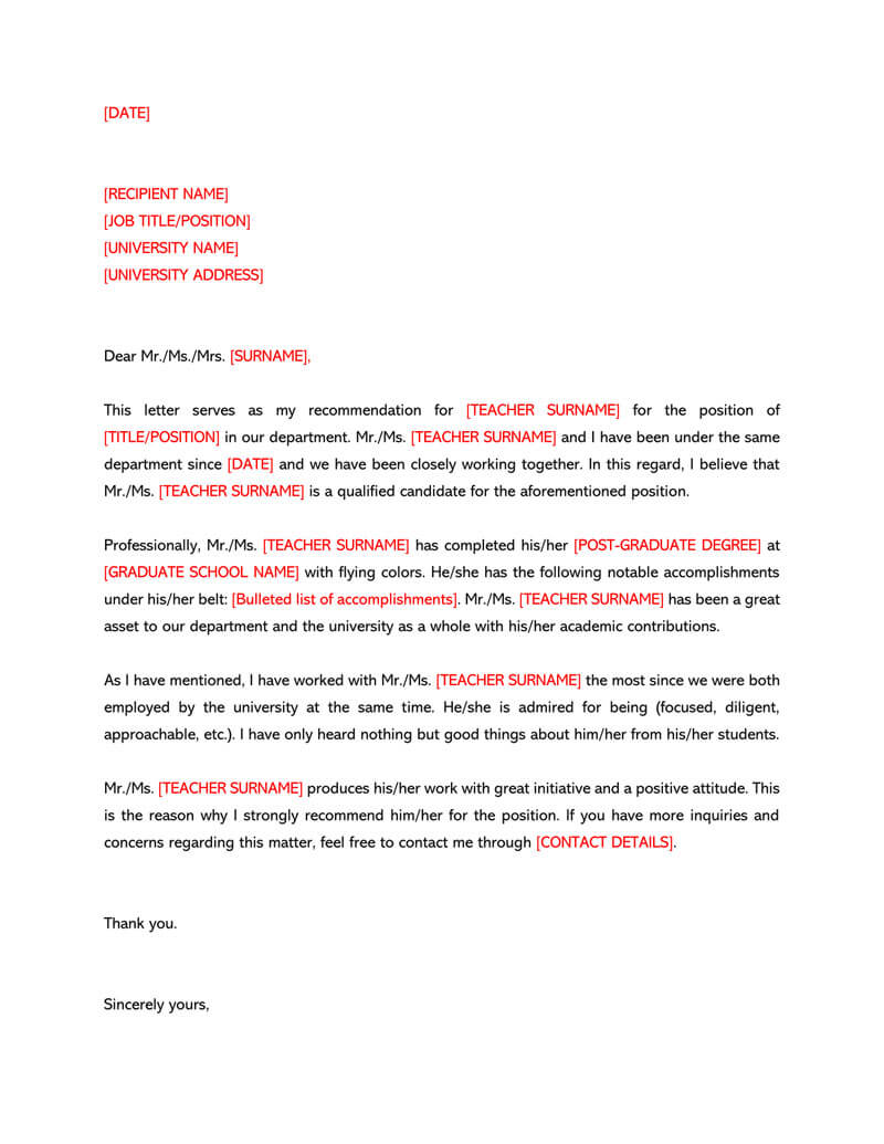 Letter of Recommendation Template for Teacher 01