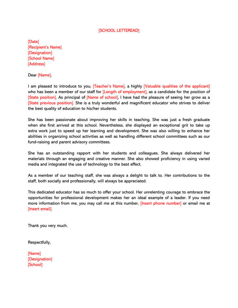 Letter of Recommendation Template for Teacher 02