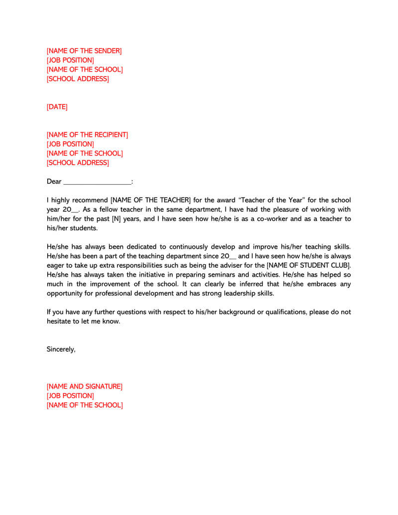 Letter of Recommendation Template for Teacher 03