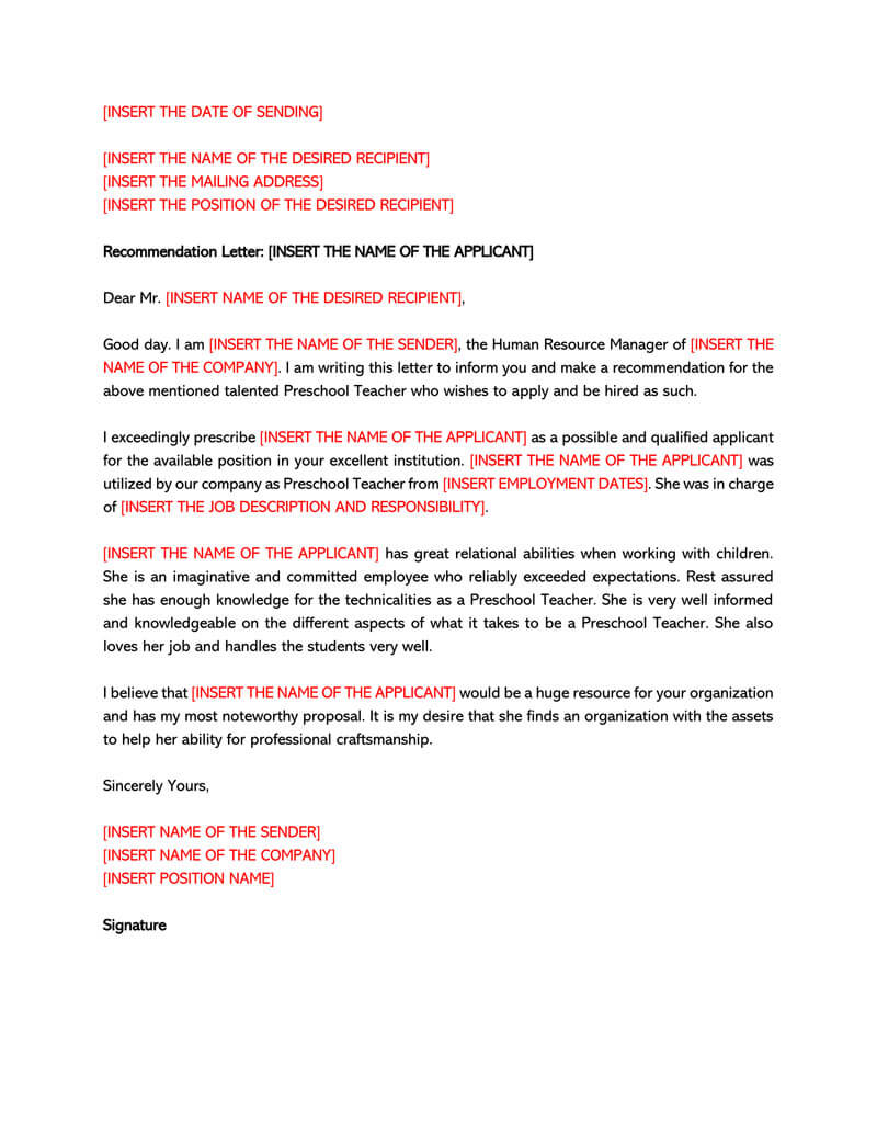 Letter of Recommendation Template for Teacher 04
