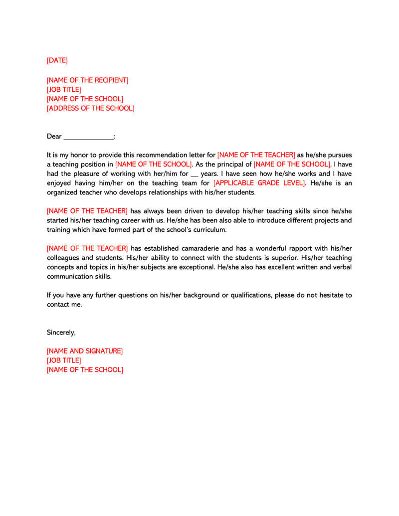 Letter of Recommendation Template for Teacher 05