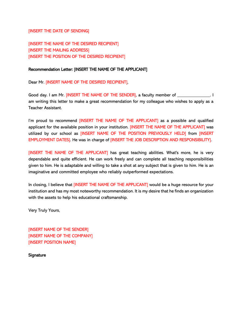 Letter of Recommendation Template for Teacher 06