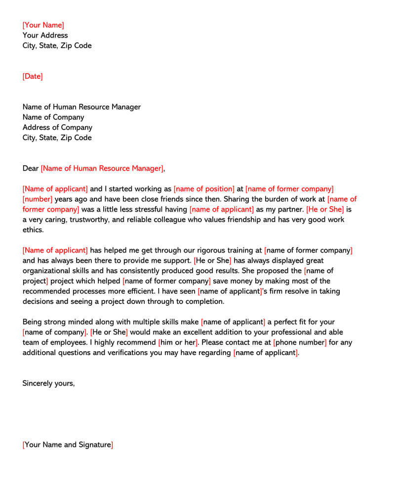 Letter of Recommendation for Friend Template