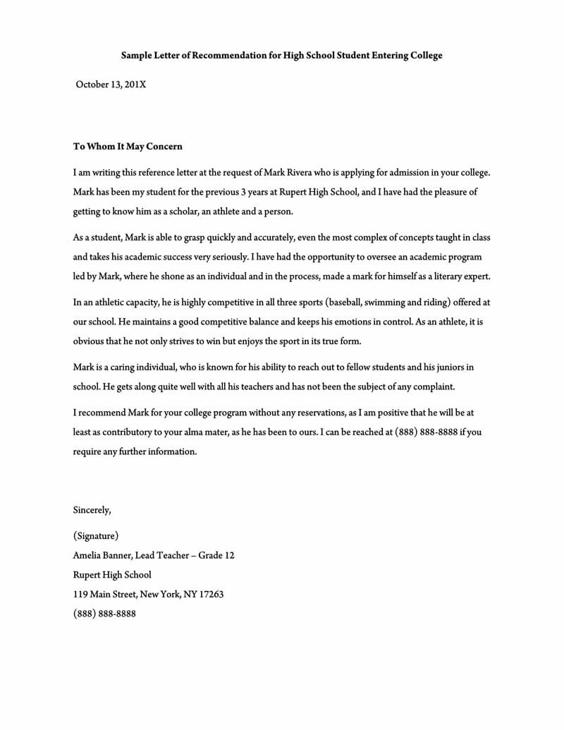 Letter of Recommendation for High School Teacher 02