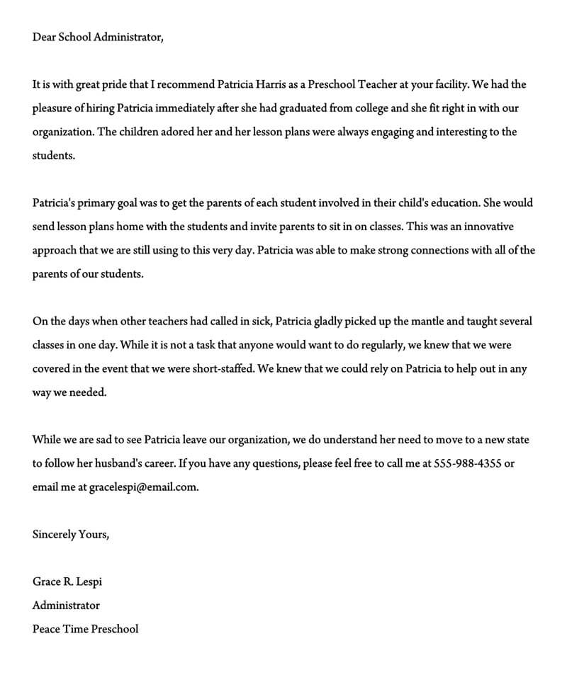 Letter of Recommendation for Preschool Teacher