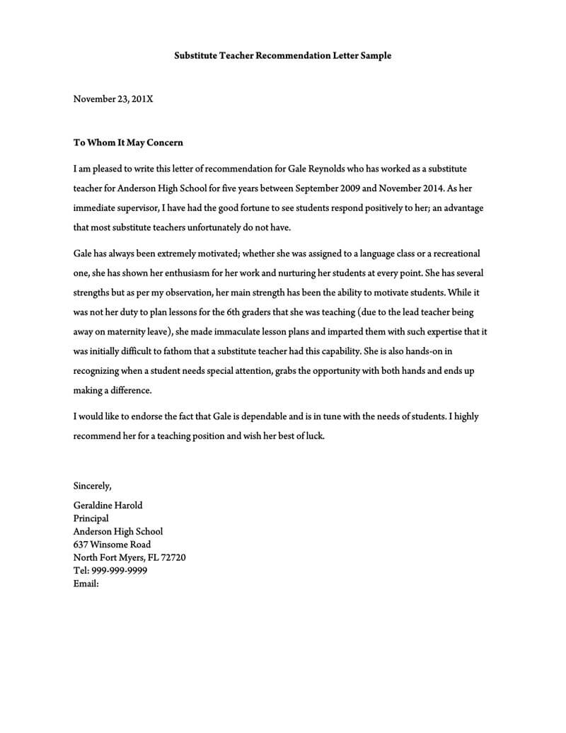 Recommendation Letter For A Teacher 32 Sample Letters