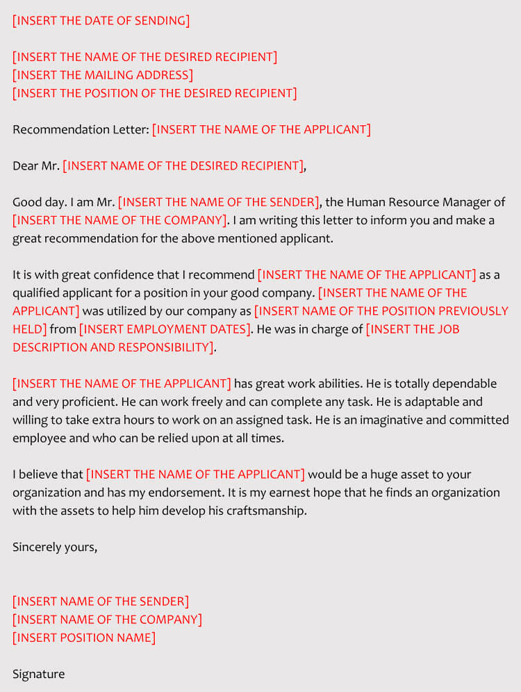letters of recommendation for employment template