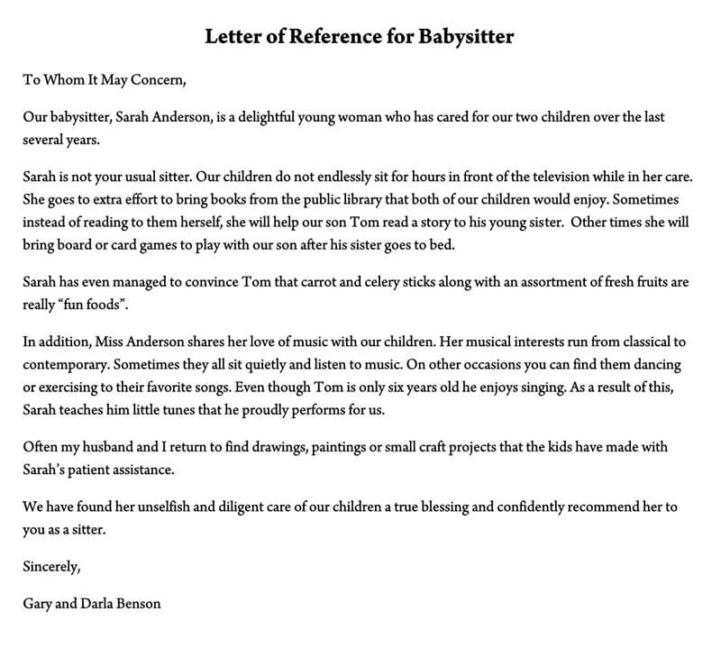 Letter of Reference for Babysitter