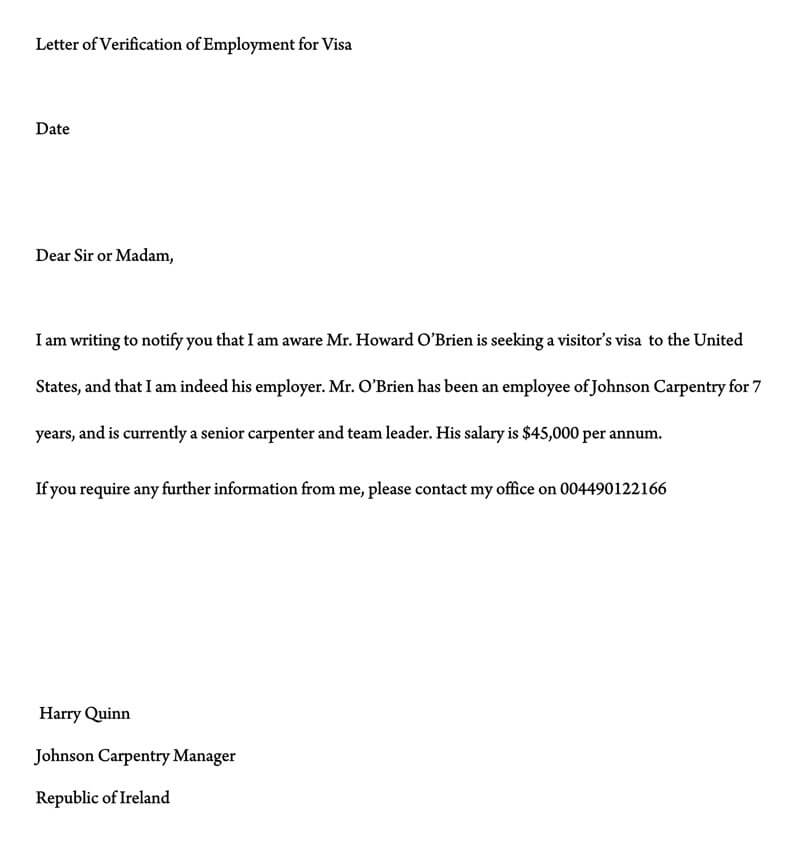 Letter of Verification of Employment for Visa