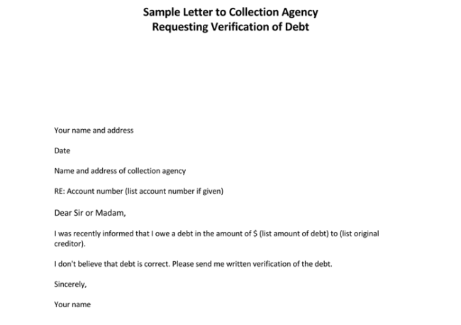 Debt letter template 10 samples for word pdf letter to collection agency requesting for verification spiritdancerdesigns Images