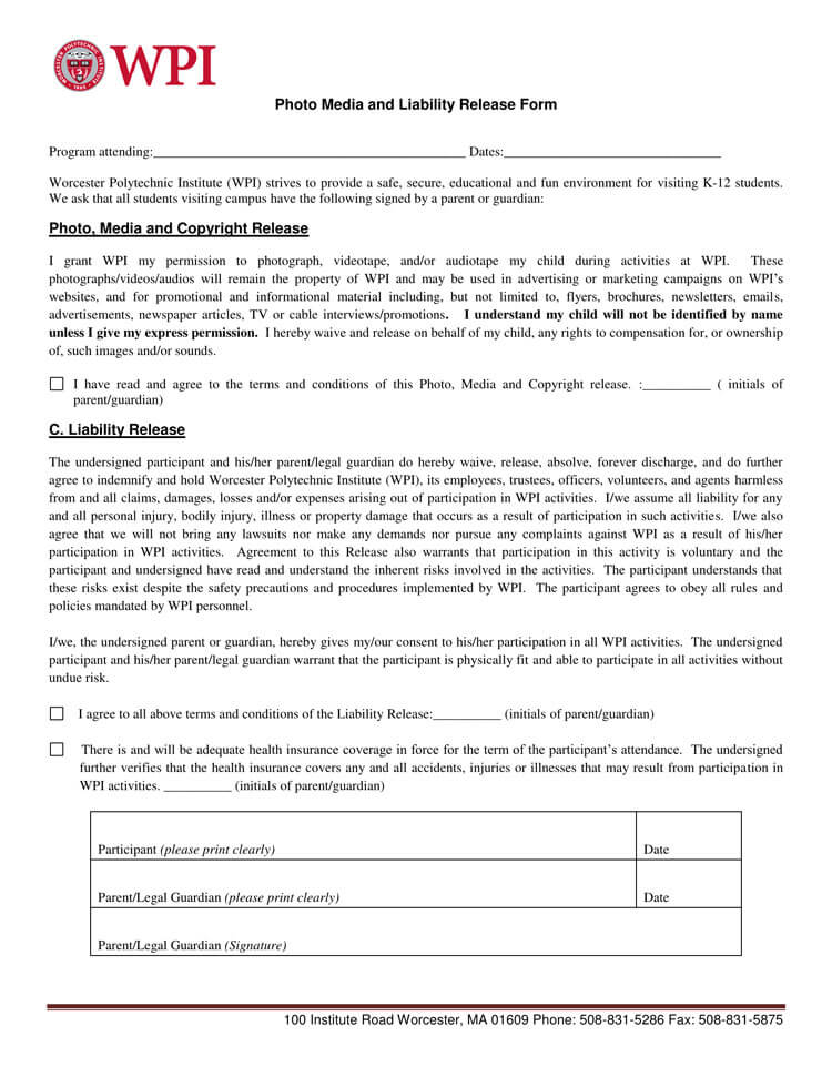 Liability and Media Release Form