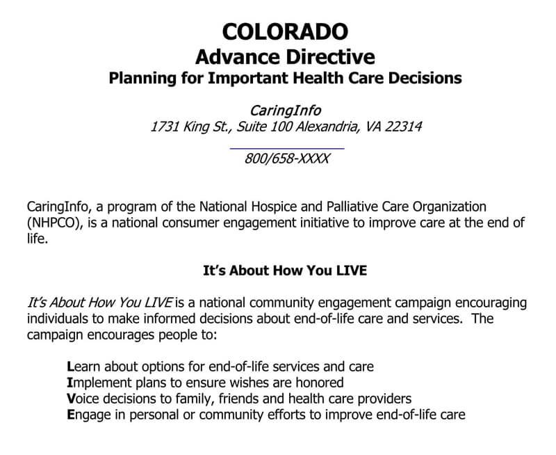 Living Will Form (Colorado)