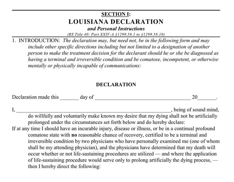 Living Will Form (Louisiana)