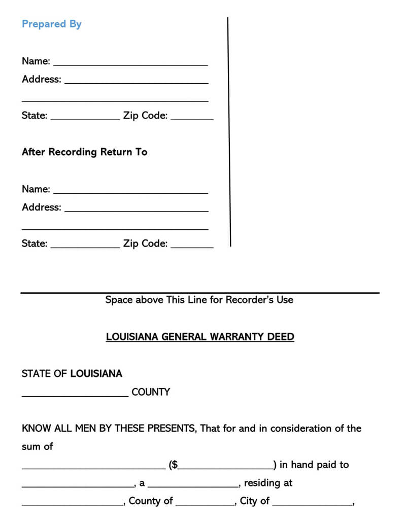 Louisiana Warranty Deed Form