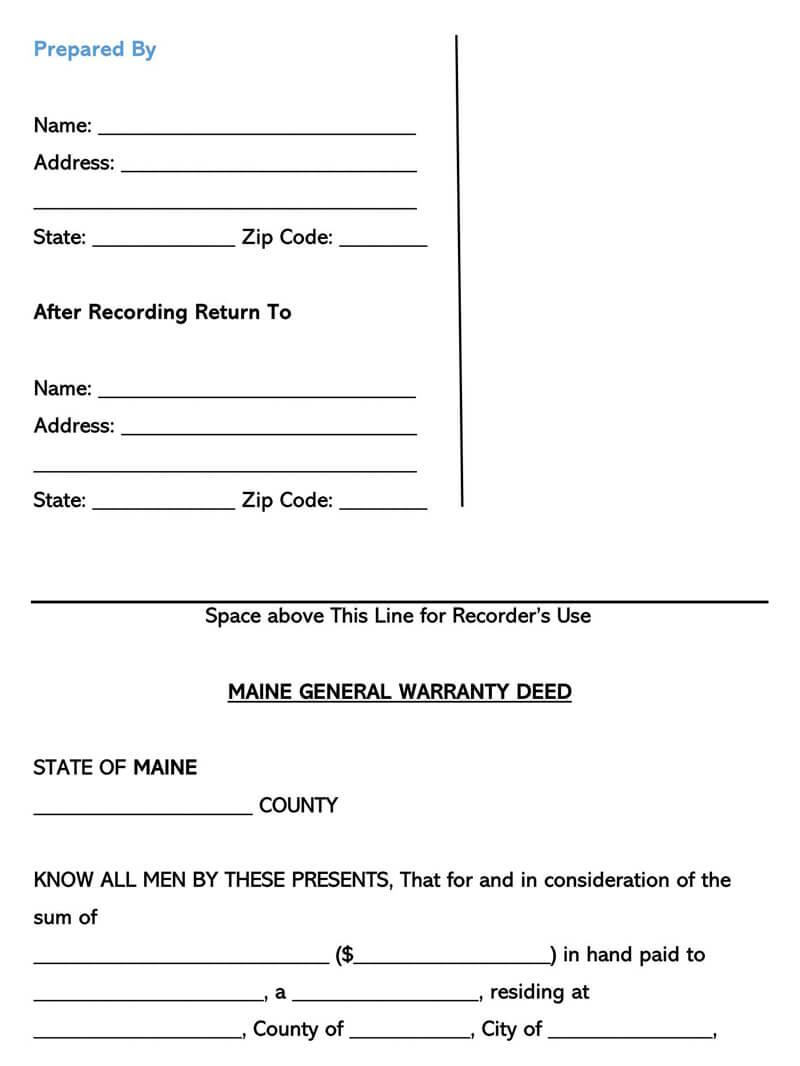 Maine Warranty Deed Form