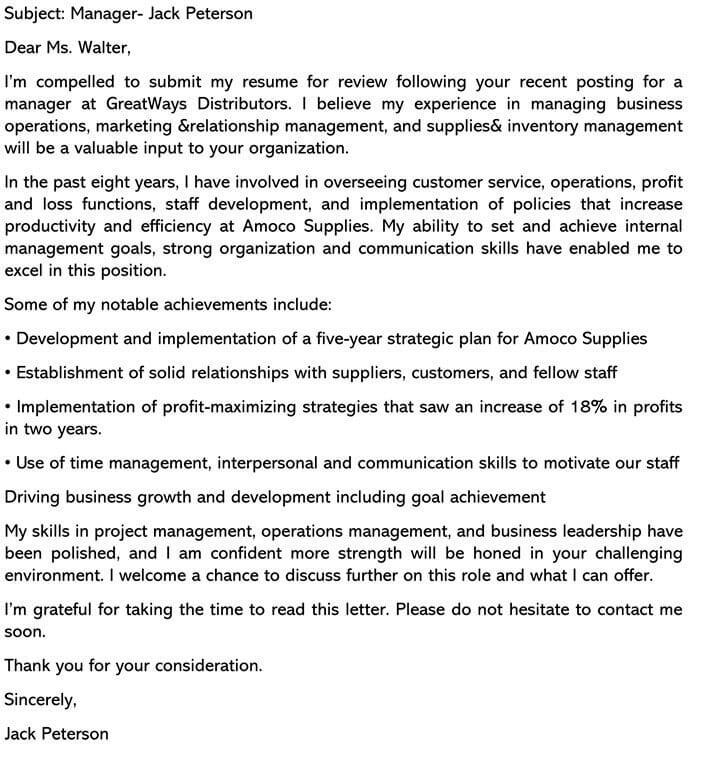 Manager Cover Letter Sample Template and Email Example