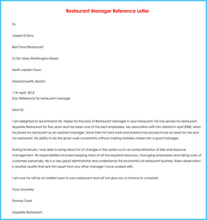 free edit manager reference letter