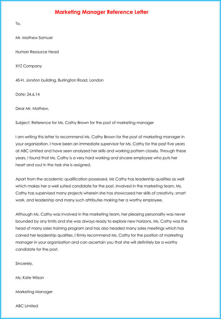 manager reference letter  7  samples to write manager job