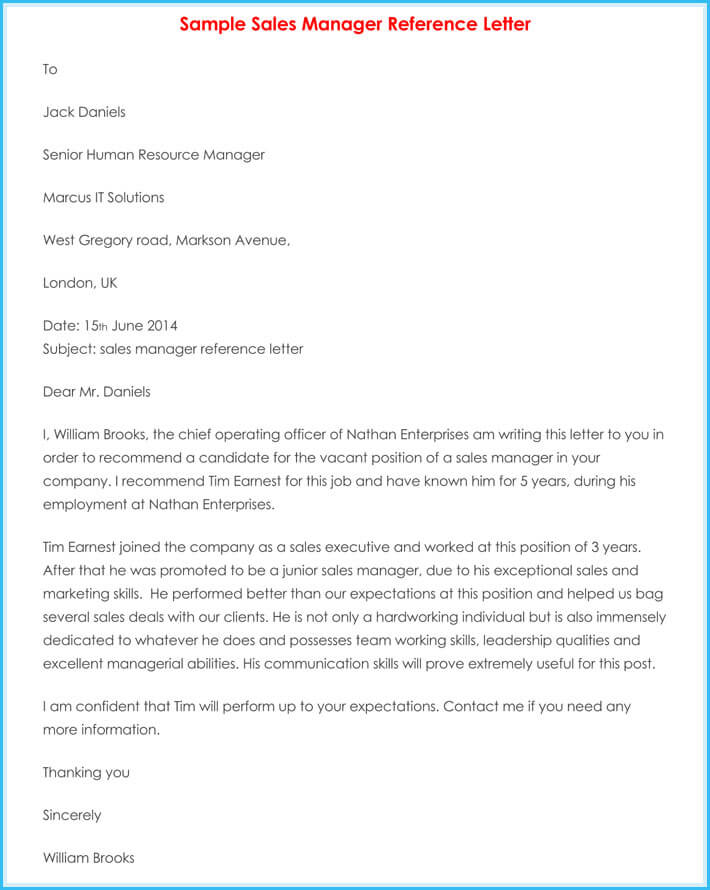 Manager reference letter 7 samples to write manager job reference print free manager reference letter altavistaventures Images