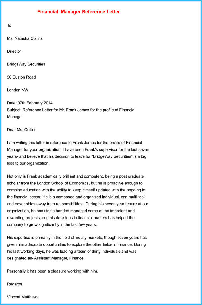 Manager Reference Letter 7 Samples To Write Manager Job Reference