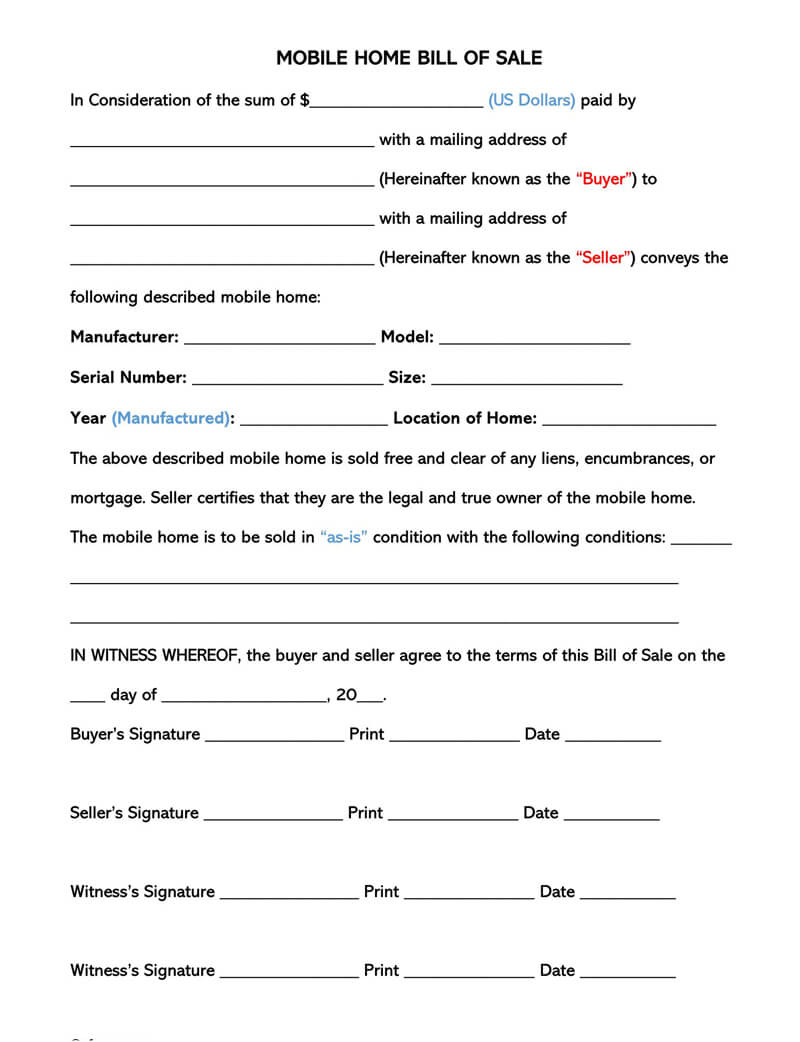 Manufactured Home Bill of Sale Form