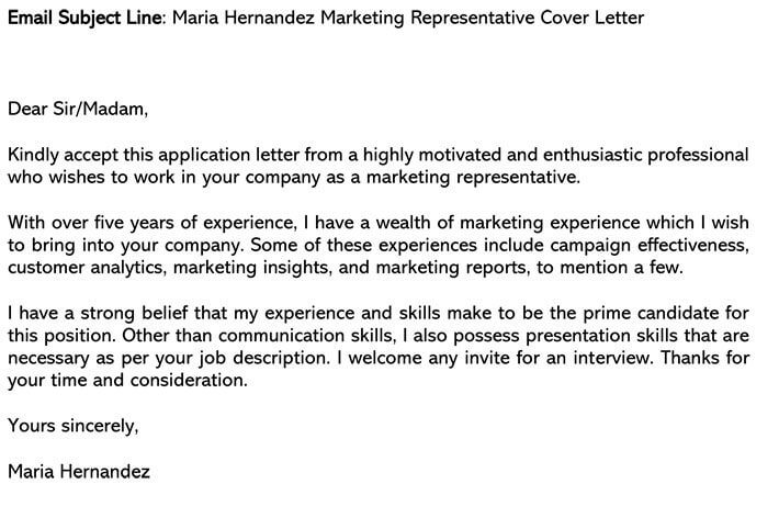 Marketing Cover Letter Email Example