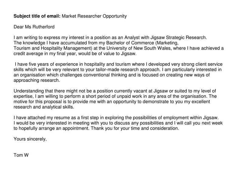 Marketing Email Cover Letter